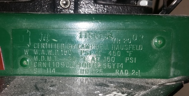 Pressure vessel name plate